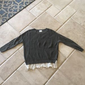 Lace trim sweater